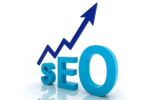 A picture of the word SEO with an arrow pointing up.